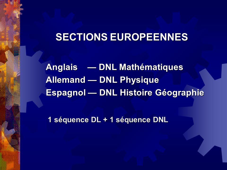 SECTIONS EUROPEENNES Anglais — DNL Mathématiques
