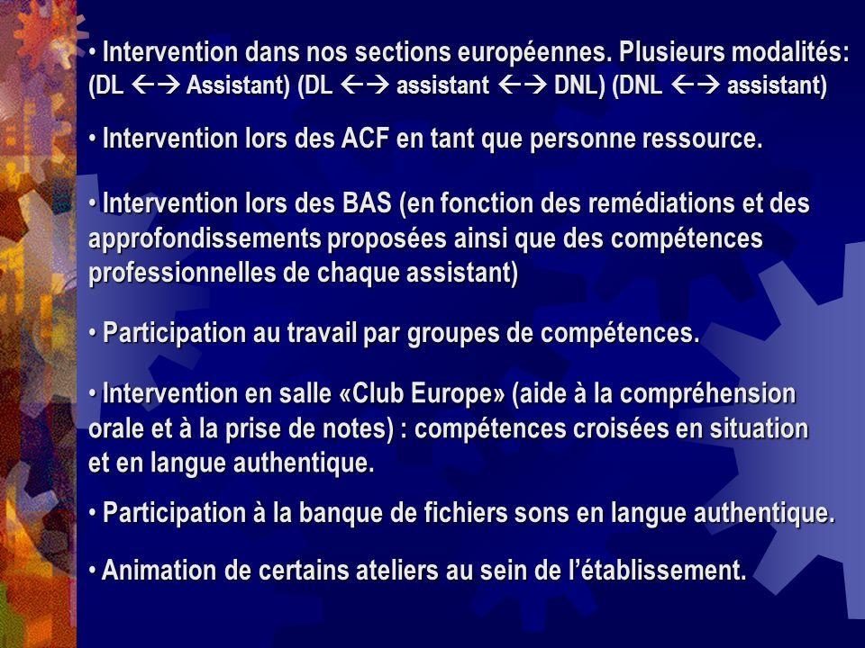 Intervention dans nos sections européennes