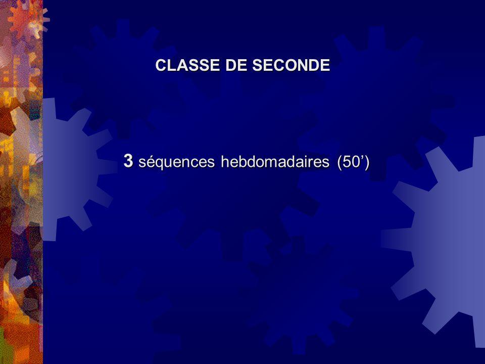 3 séquences hebdomadaires (50')