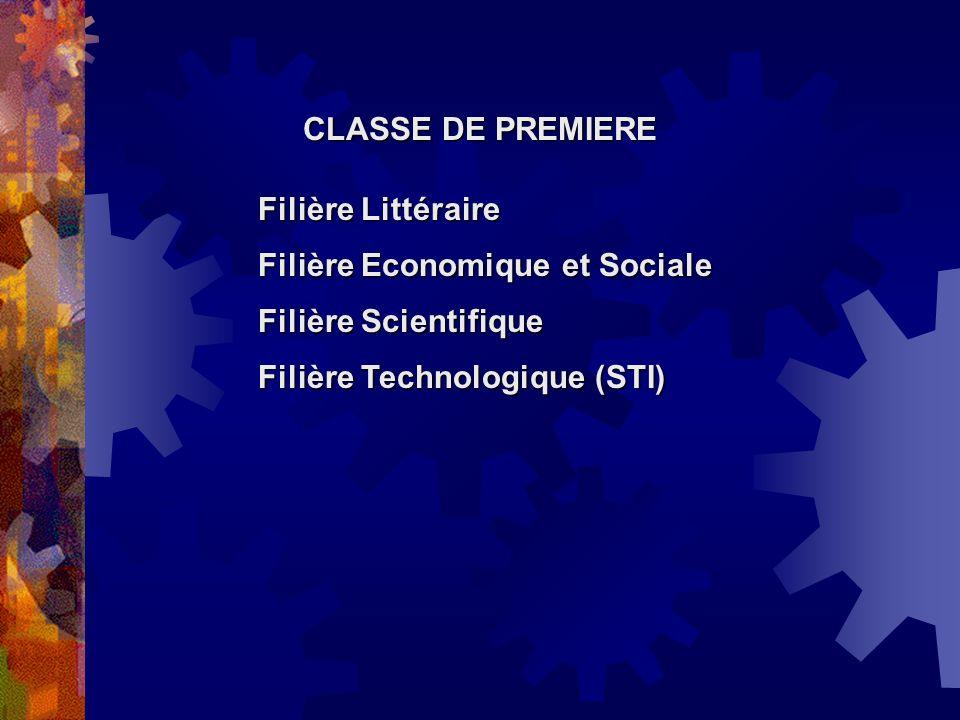 CLASSE DE PREMIERE Filière Littéraire. Filière Economique et Sociale.