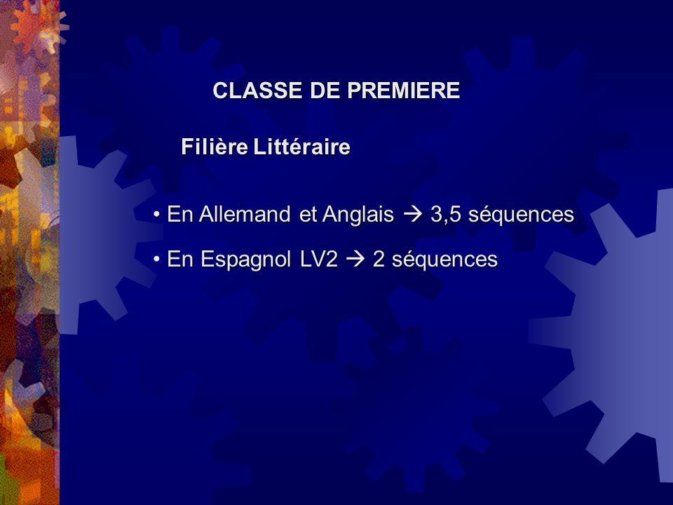 CLASSE DE PREMIERE Filière Littéraire. En Allemand et Anglais  3,5 séquences.