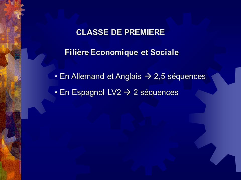 CLASSE DE PREMIERE Filière Economique et Sociale. En Allemand et Anglais  2,5 séquences.