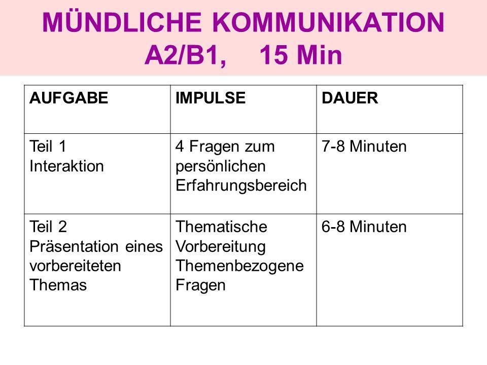 MÜNDLICHE KOMMUNIKATION A2/B1, 15 Min