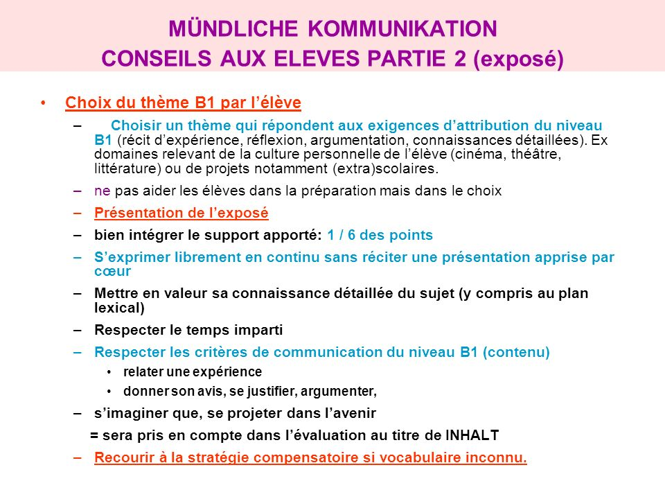 MÜNDLICHE KOMMUNIKATION CONSEILS AUX ELEVES PARTIE 2 (exposé)