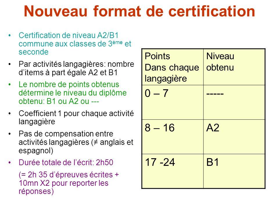 Nouveau format de certification