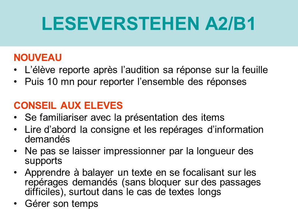 LESEVERSTEHEN A2/B1 NOUVEAU