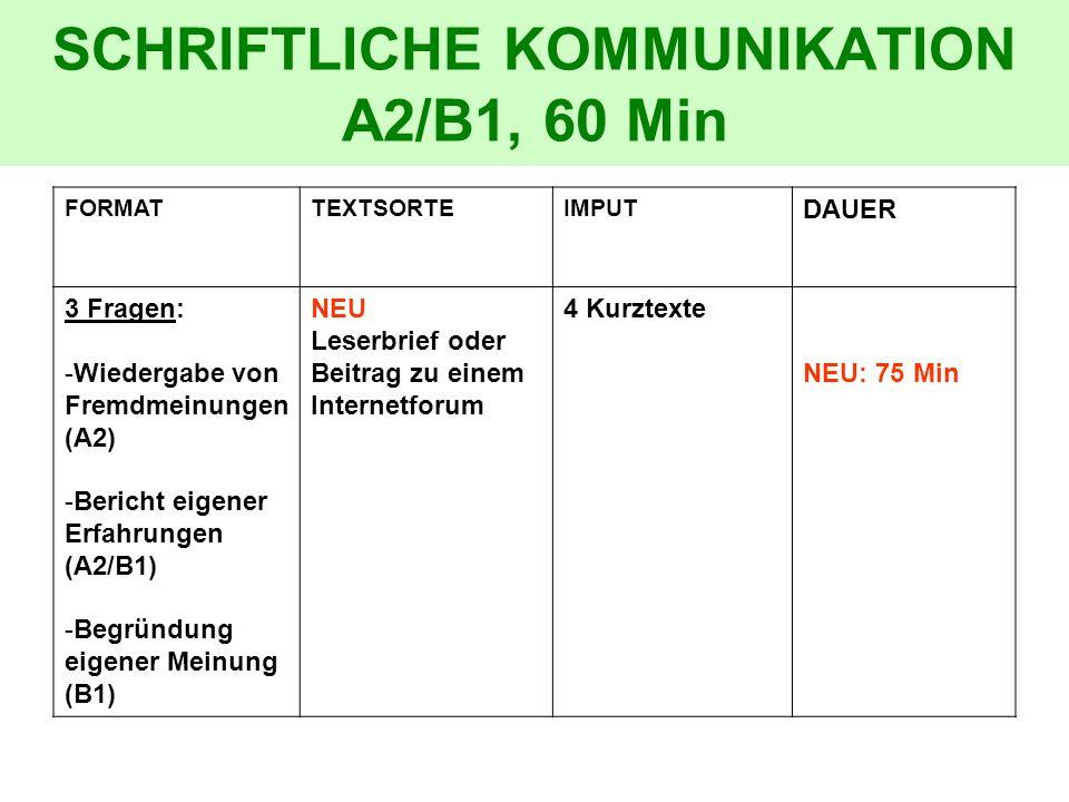 SCHRIFTLICHE KOMMUNIKATION A2/B1, 60 Min
