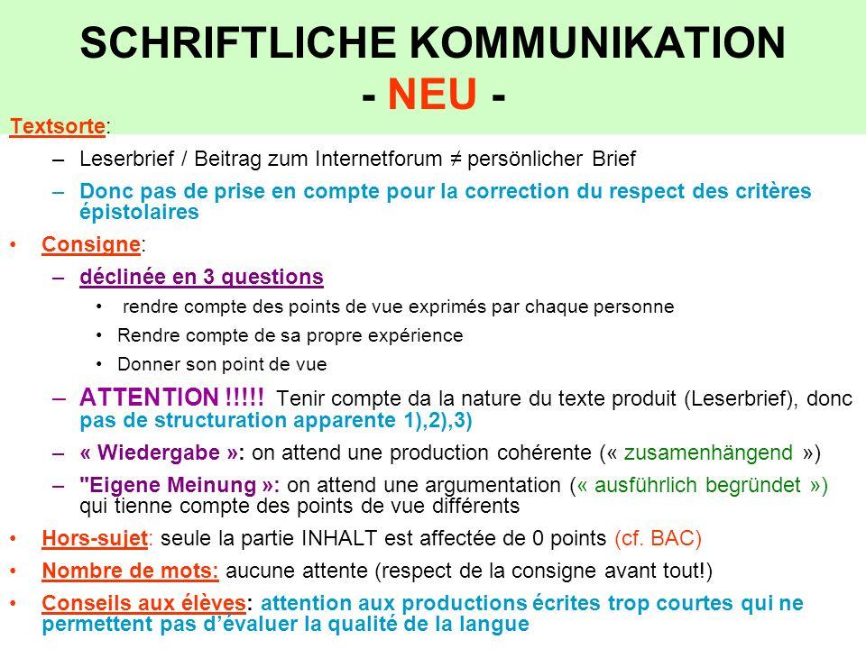 SCHRIFTLICHE KOMMUNIKATION - NEU -