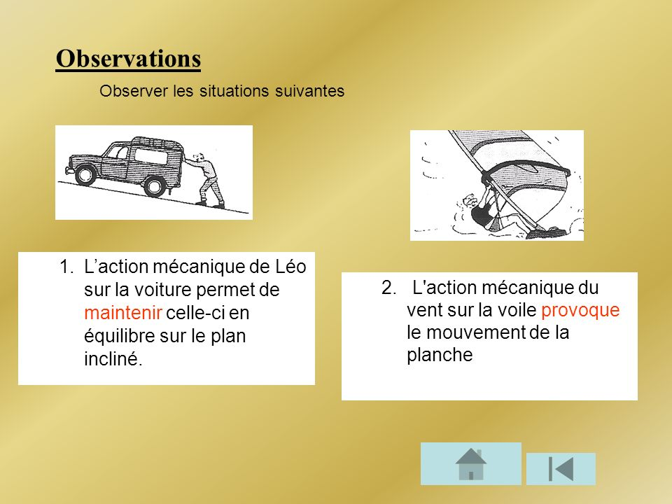 Observations Observer les situations suivantes