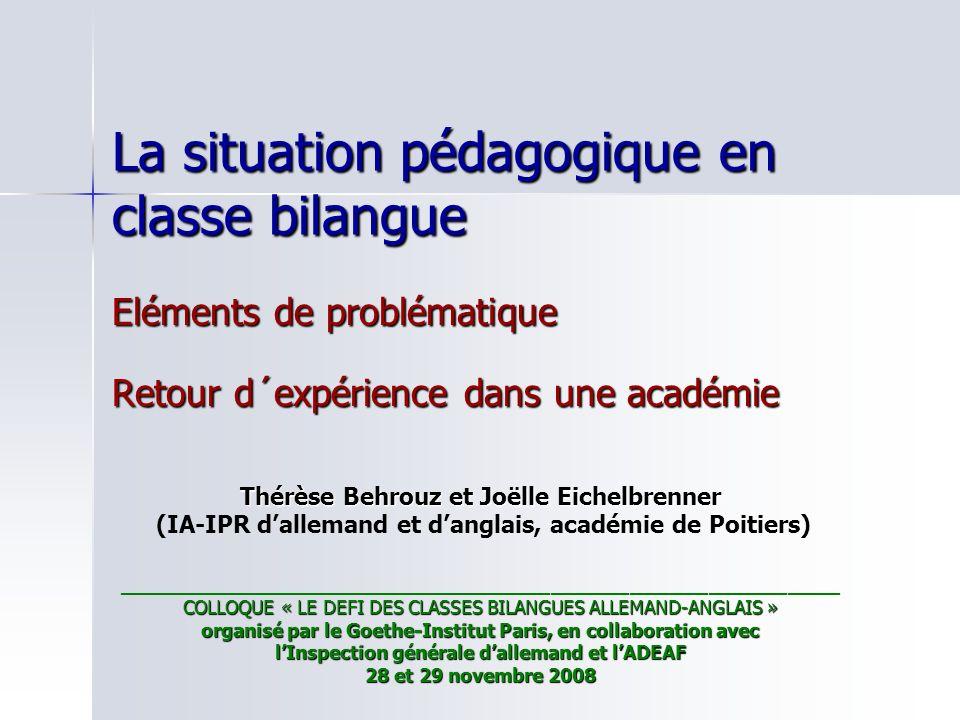 La situation pédagogique en classe bilangue