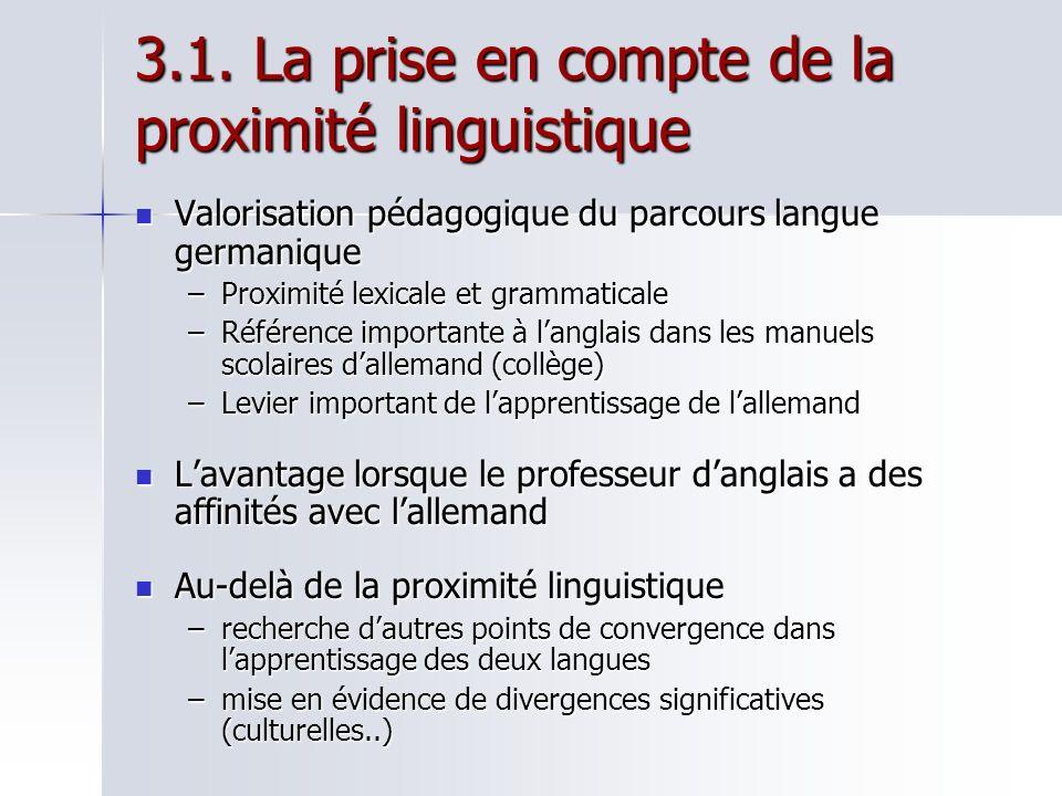 3.1. La prise en compte de la proximité linguistique