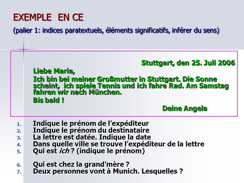 EXEMPLE EN CE (palier 1: indices paratextuels, éléments significatifs, inférer du sens)