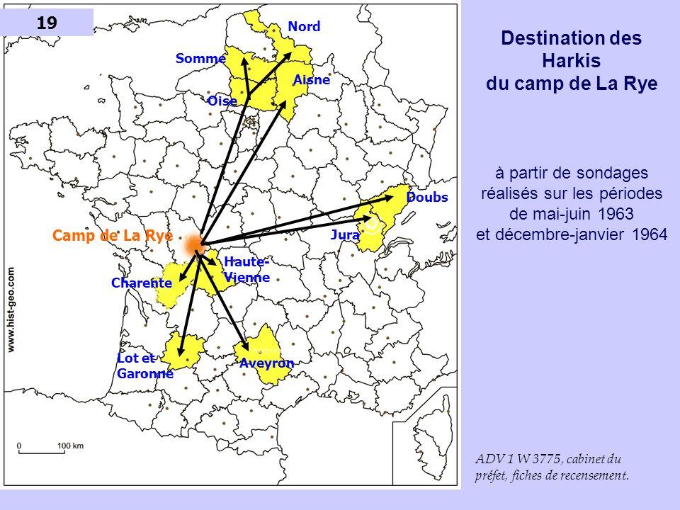 19 Nord. Destination des Harkis du camp de La Rye à partir de sondages réalisés sur les périodes de mai-juin 1963 et décembre-janvier 1964.