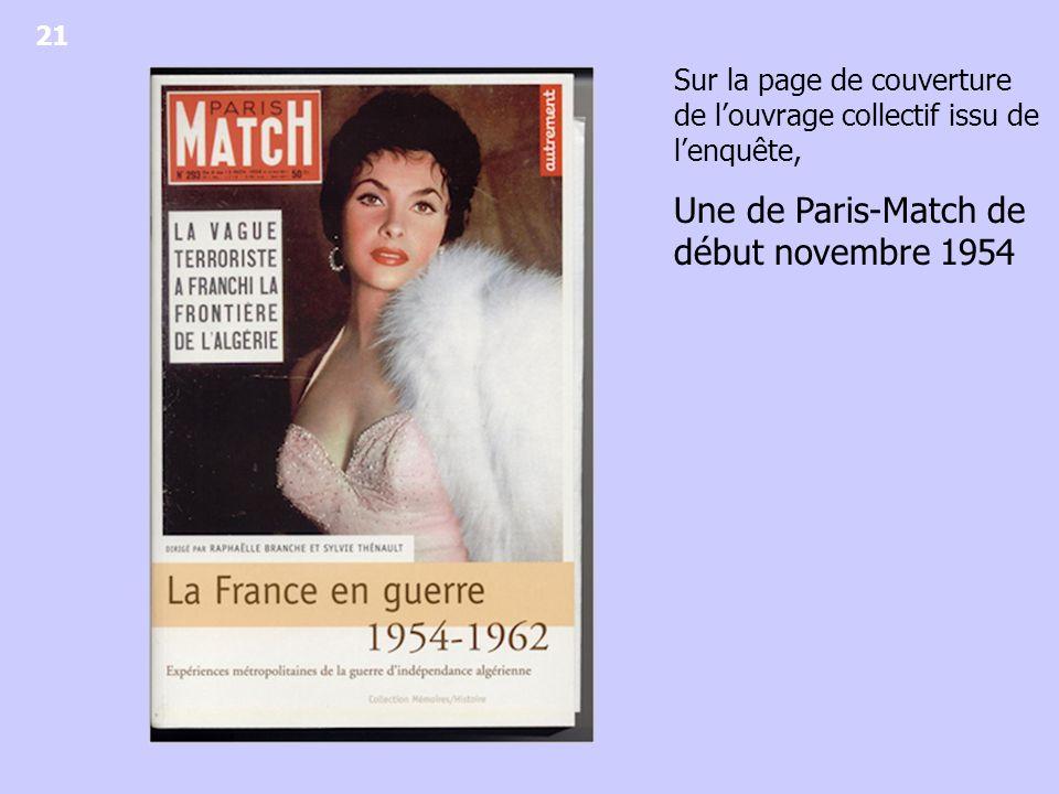 Une de Paris-Match de début novembre 1954