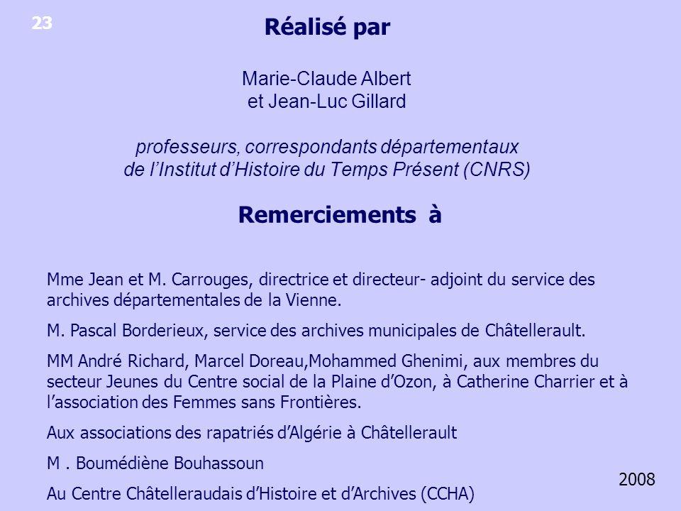 Réalisé par Marie-Claude Albert et Jean-Luc Gillard professeurs, correspondants départementaux de l'Institut d'Histoire du Temps Présent (CNRS)