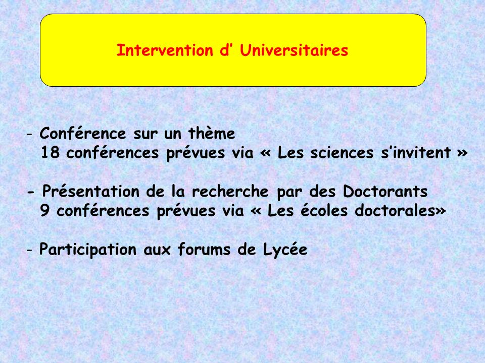Intervention d' Universitaires