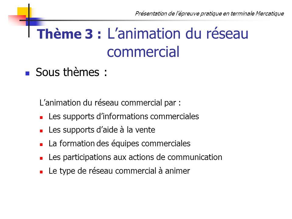 Thème 3 : L'animation du réseau commercial