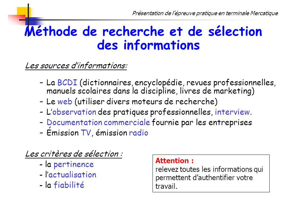 Méthode de recherche et de sélection des informations