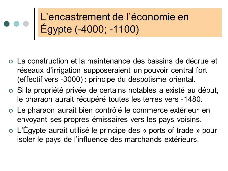 L'encastrement de l'économie en Égypte (-4000; -1100)
