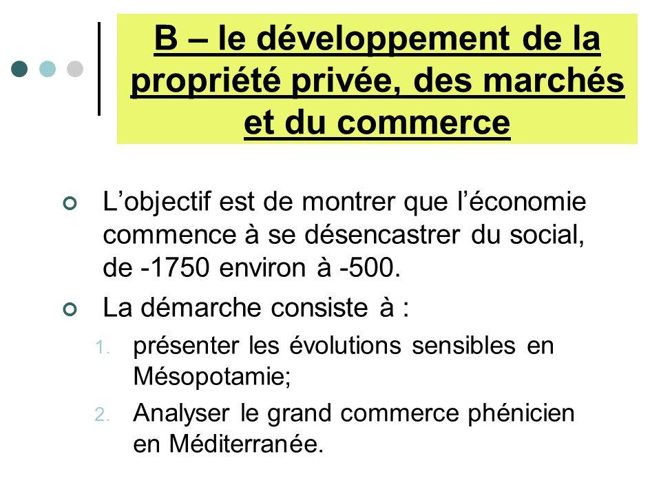 B – le développement de la propriété privée, des marchés et du commerce