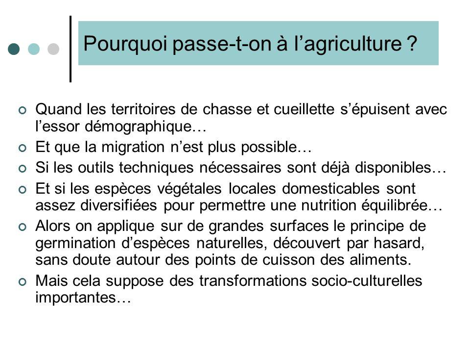 Pourquoi passe-t-on à l'agriculture