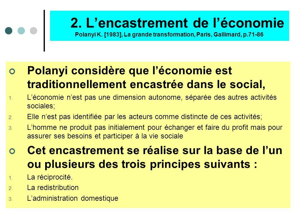 2. L'encastrement de l'économie Polanyi K