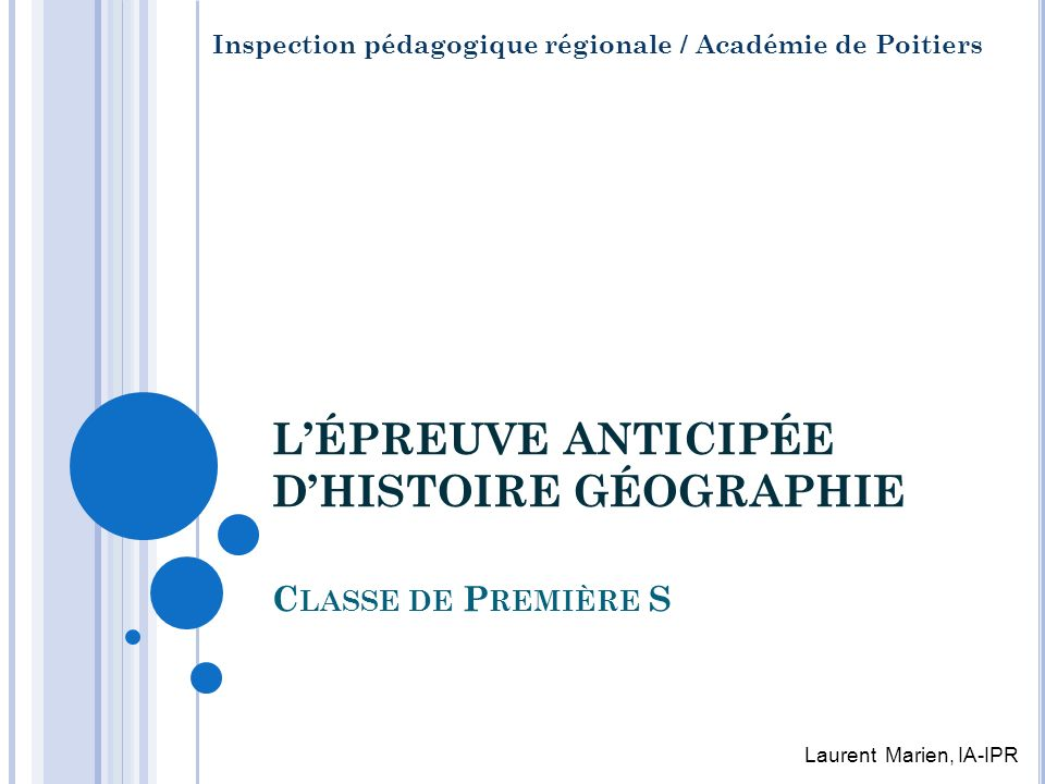 L'ÉPREUVE ANTICIPÉE D'HISTOIRE GÉOGRAPHIE