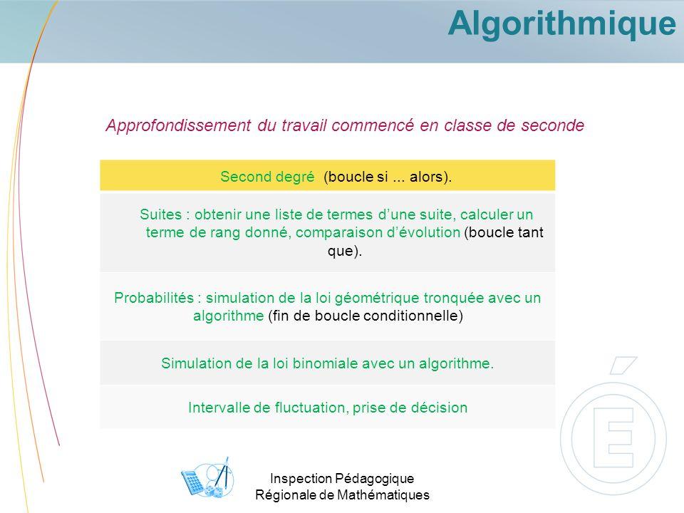 Algorithmique Approfondissement du travail commencé en classe de seconde. Second degré (boucle si ... alors).