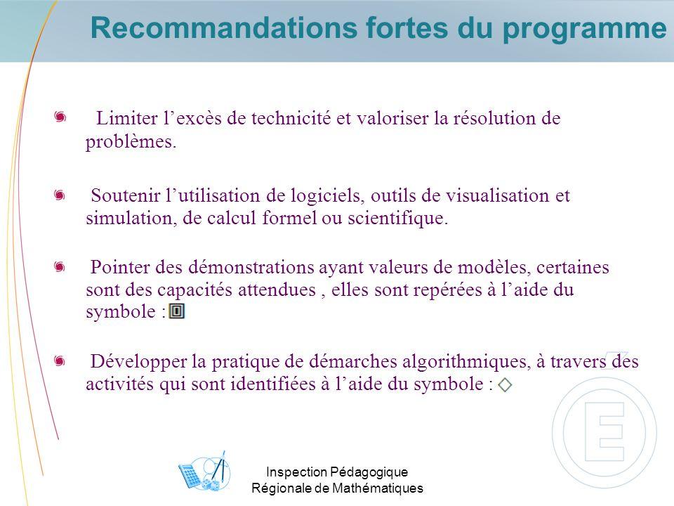 Recommandations fortes du programme