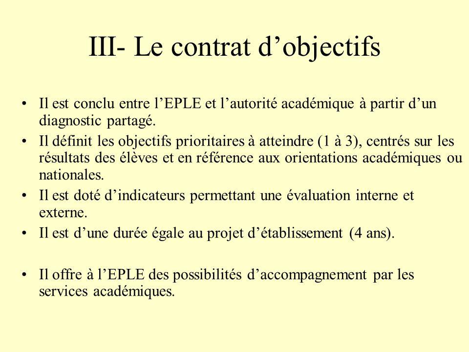III- Le contrat d'objectifs