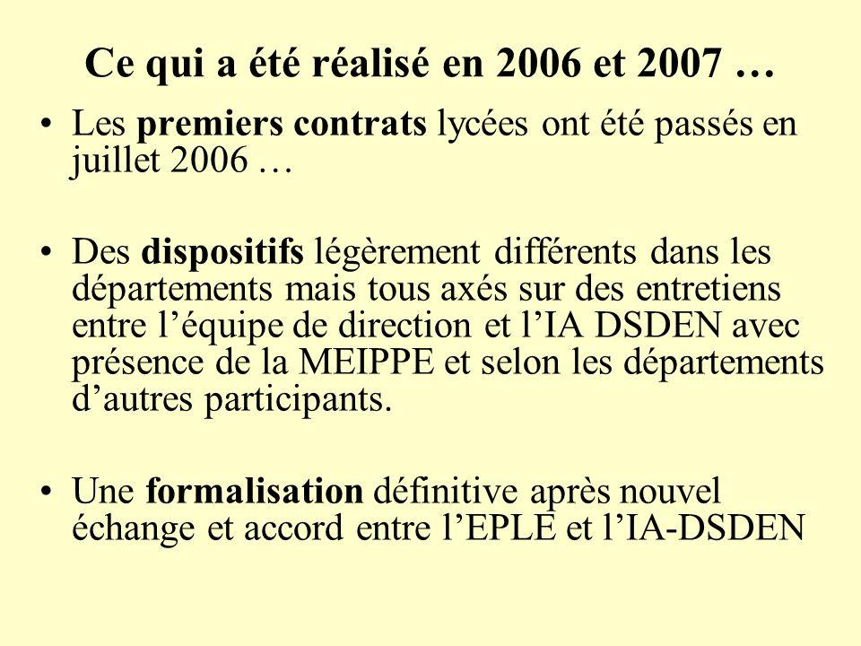 Ce qui a été réalisé en 2006 et 2007 …