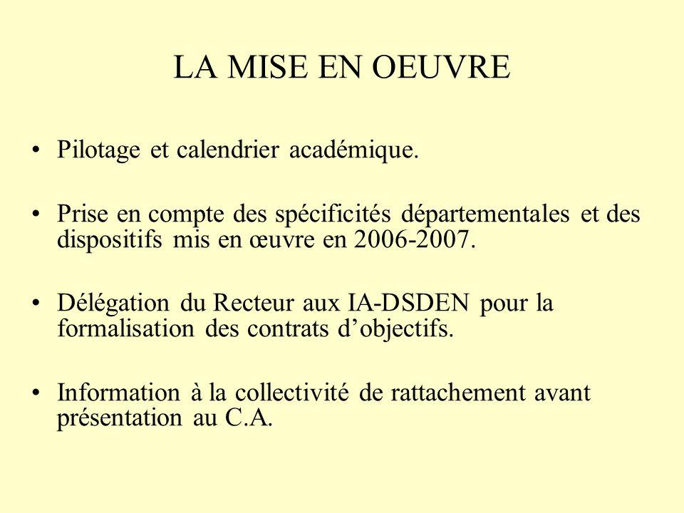 LA MISE EN OEUVRE Pilotage et calendrier académique.