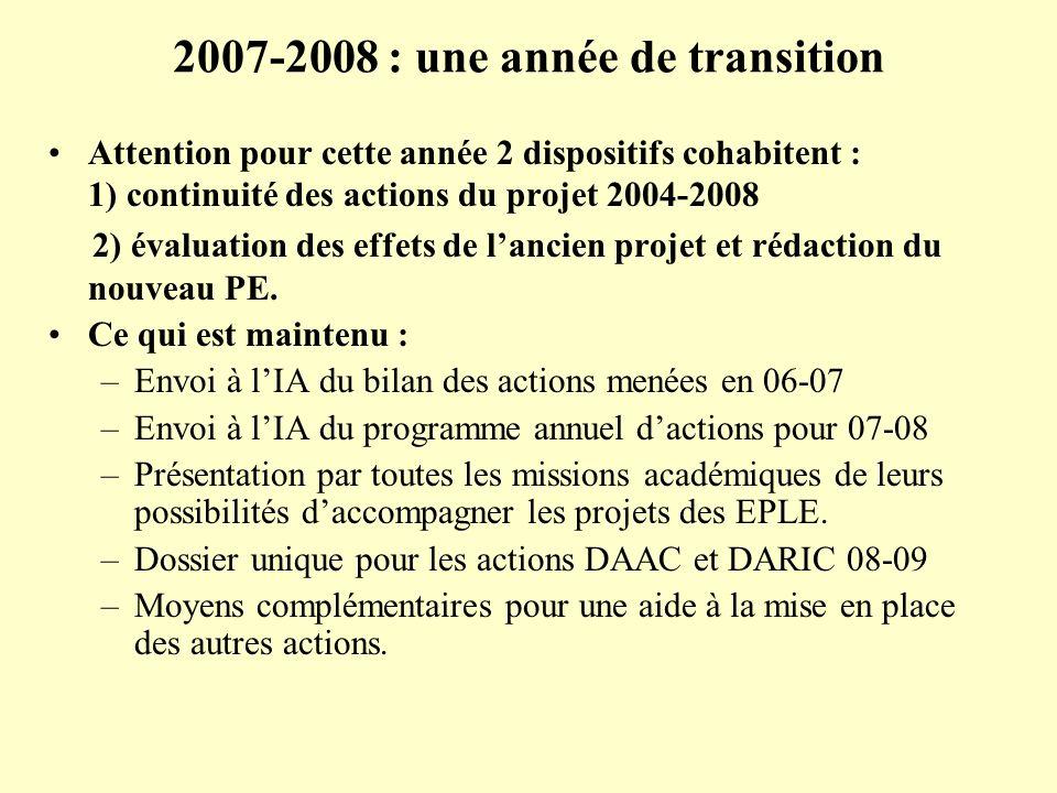2007-2008 : une année de transition