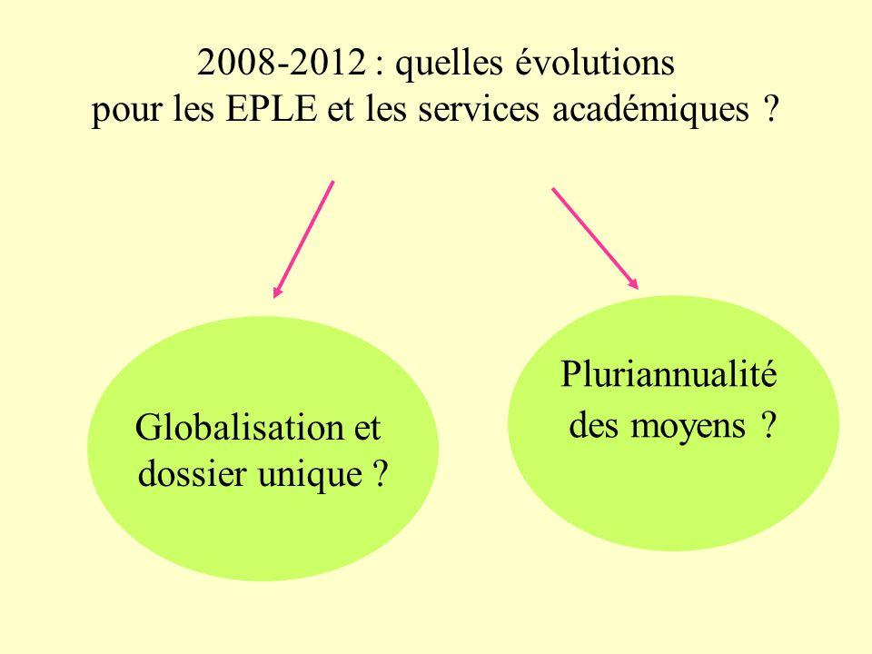 2008-2012 : quelles évolutions pour les EPLE et les services académiques