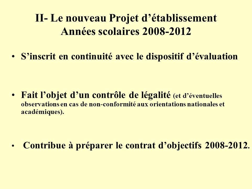 II- Le nouveau Projet d'établissement Années scolaires 2008-2012