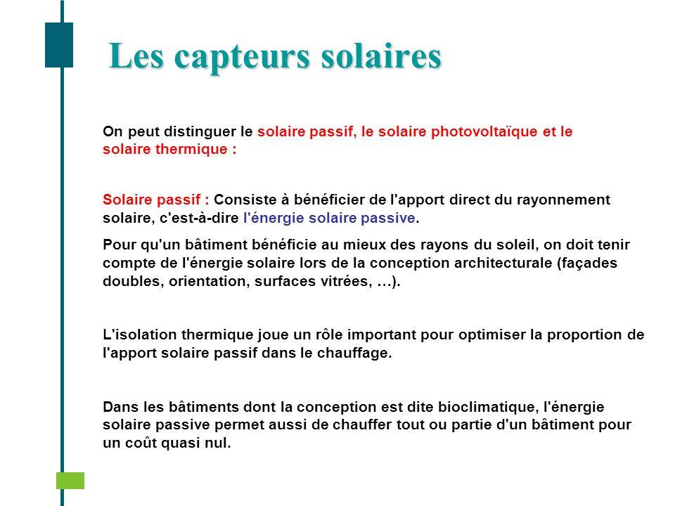 Les capteurs solairesOn peut distinguer le solaire passif, le solaire photovoltaïque et le solaire thermique :