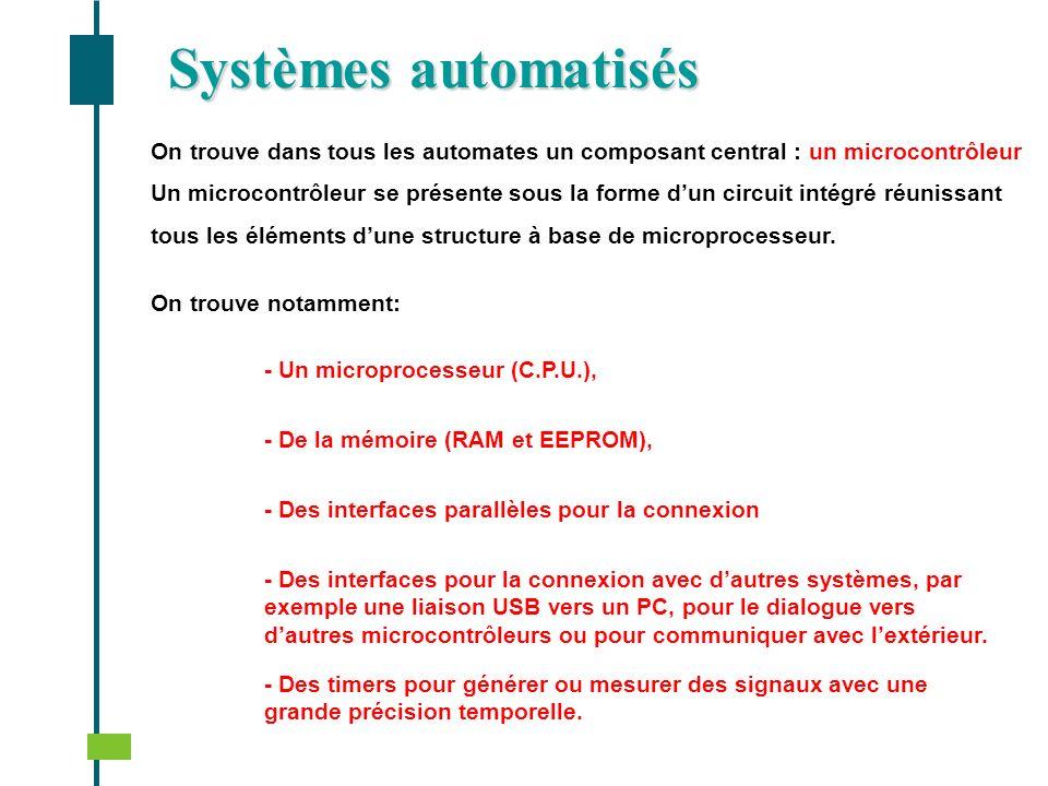 Systèmes automatisés On trouve dans tous les automates un composant central : un microcontrôleur.