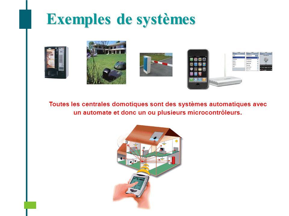 Exemples de systèmes Toutes les centrales domotiques sont des systèmes automatiques avec un automate et donc un ou plusieurs microcontrôleurs.