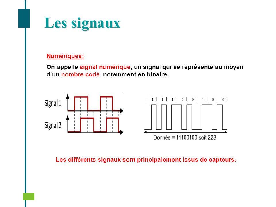 Les différents signaux sont principalement issus de capteurs.