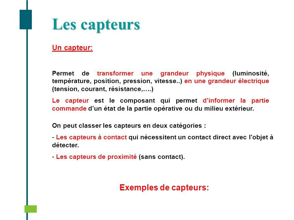 Les capteurs Exemples de capteurs: Un capteur: