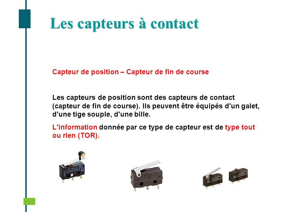 Les capteurs à contact Capteur de position – Capteur de fin de course