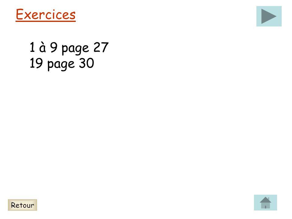 Exercices 1 à 9 page 27 19 page 30 Retour