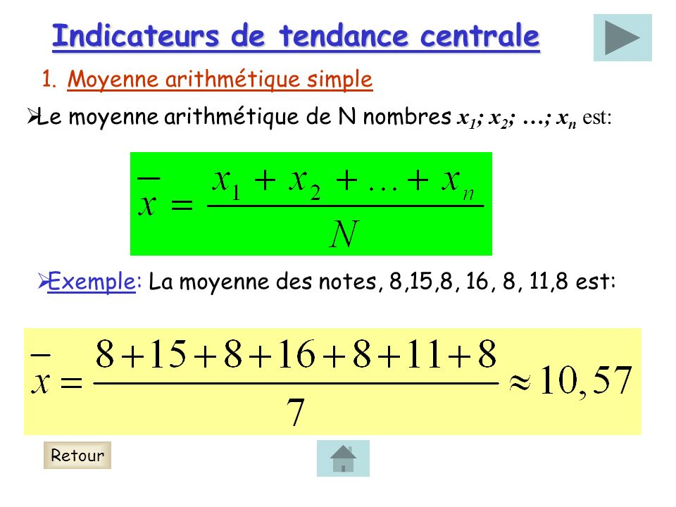 Indicateurs de tendance centrale