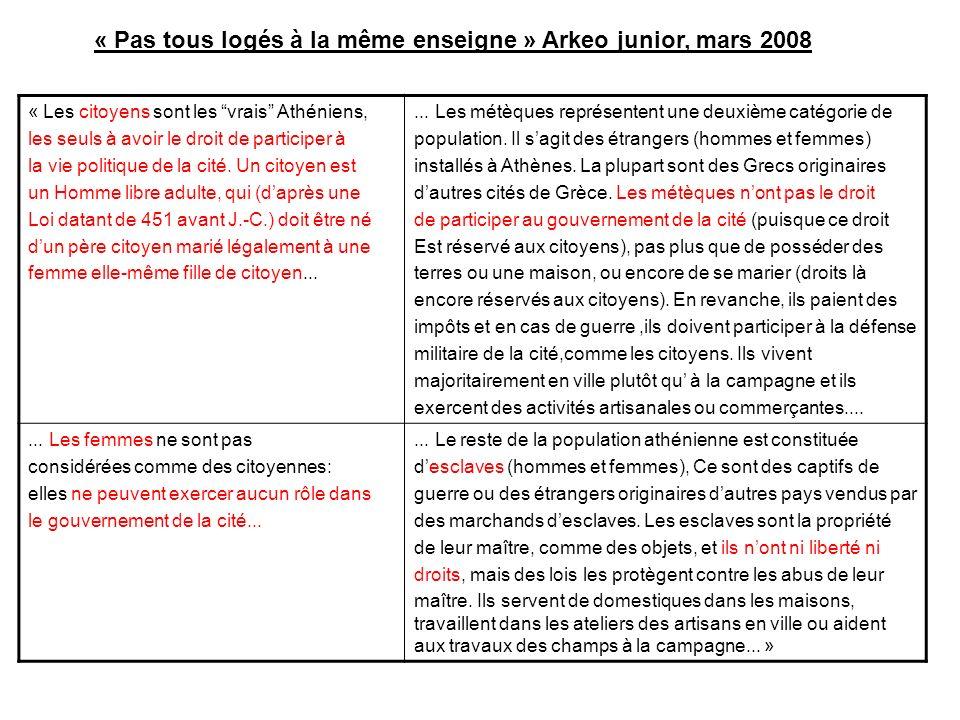 « Pas tous logés à la même enseigne » Arkeo junior, mars 2008