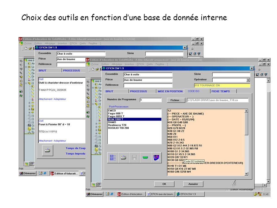 Choix des outils en fonction d'une base de donnée interne
