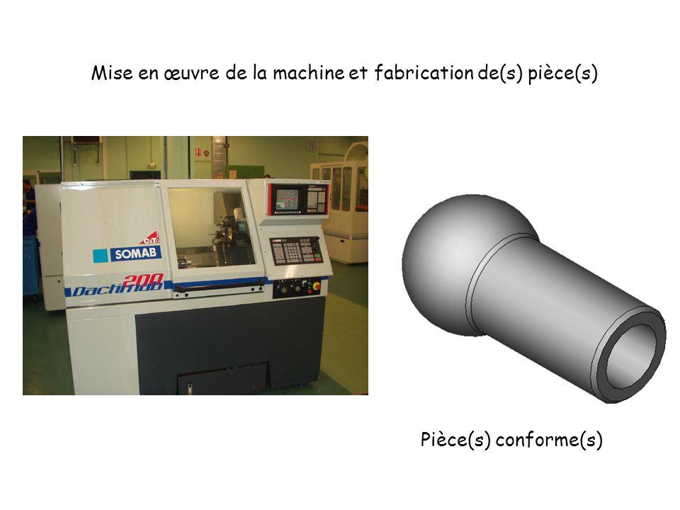 Mise en œuvre de la machine et fabrication de(s) pièce(s)