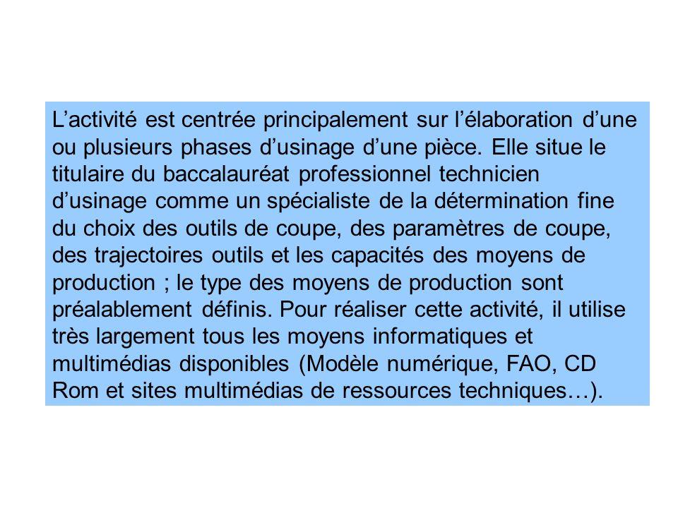 L'activité est centrée principalement sur l'élaboration d'une ou plusieurs phases d'usinage d'une pièce.