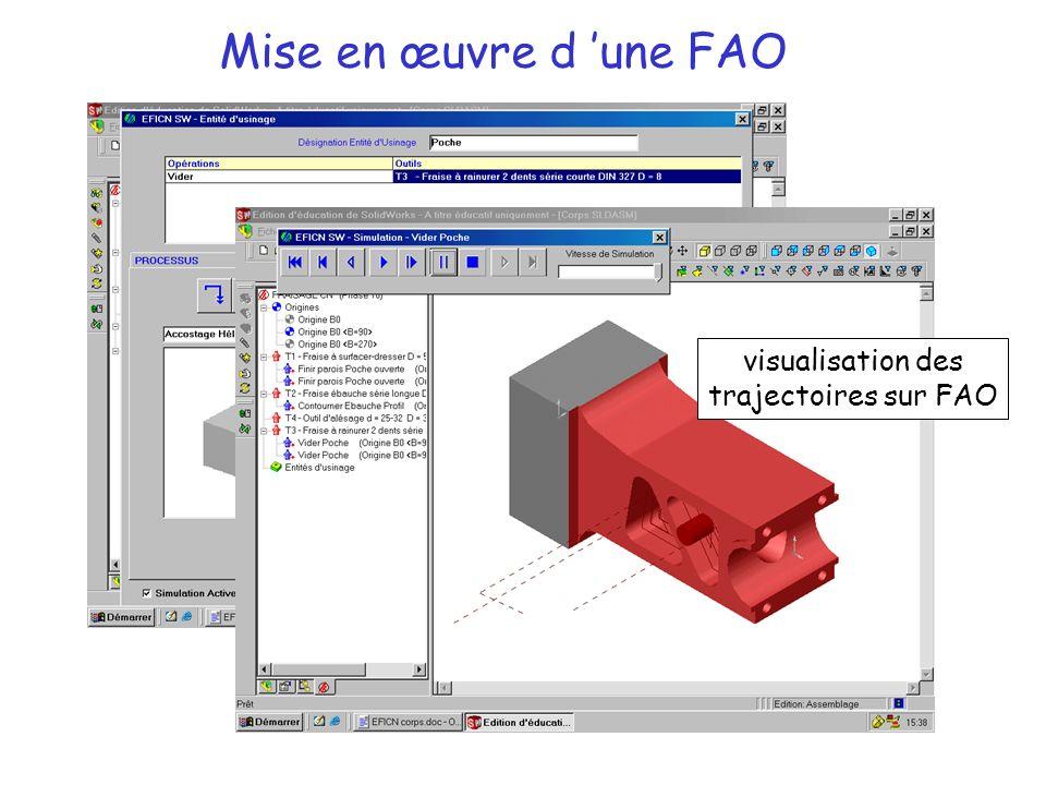 Mise en œuvre d 'une FAO Entité d'usinage visualisation des