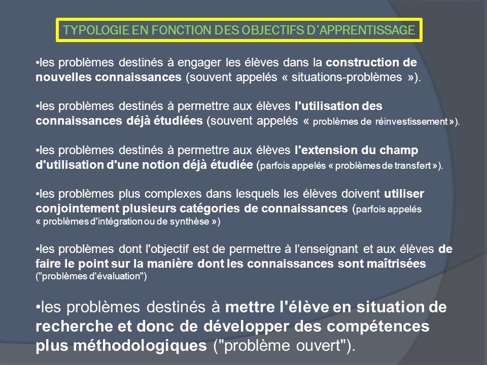 TYPOLOGIE EN FONCTION DES OBJECTIFS D'APPRENTISSAGE