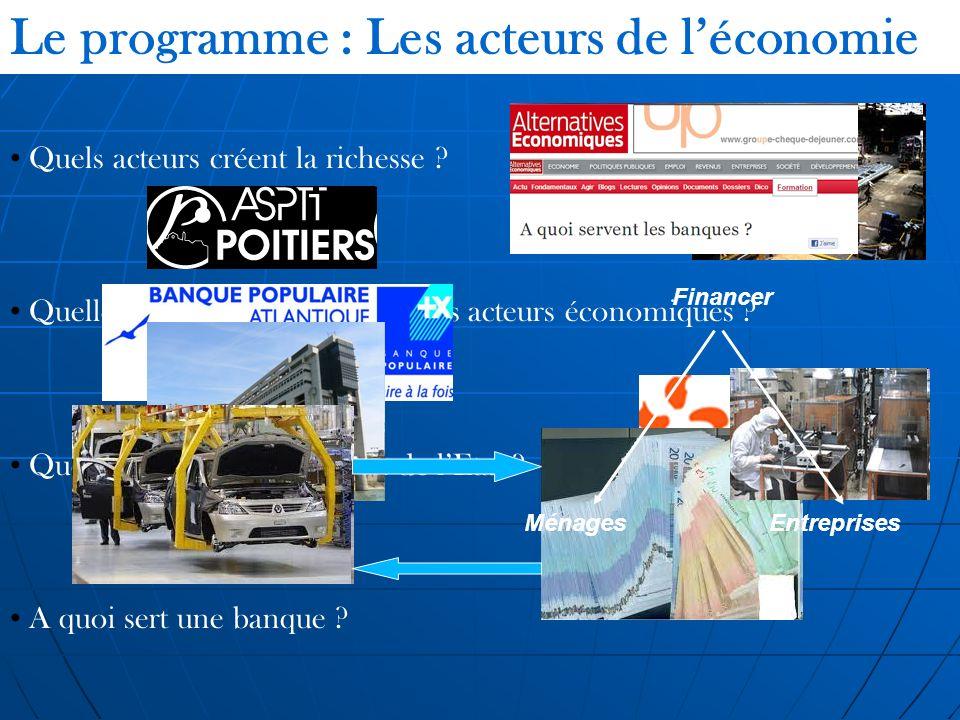 Le programme : Les acteurs de l'économie